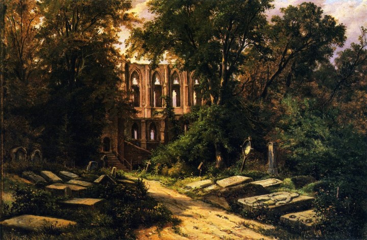 Herman-Lungkwitz-xx-Cemetery-by-a-Ruined-Gothic-Church-xx-Private-collection