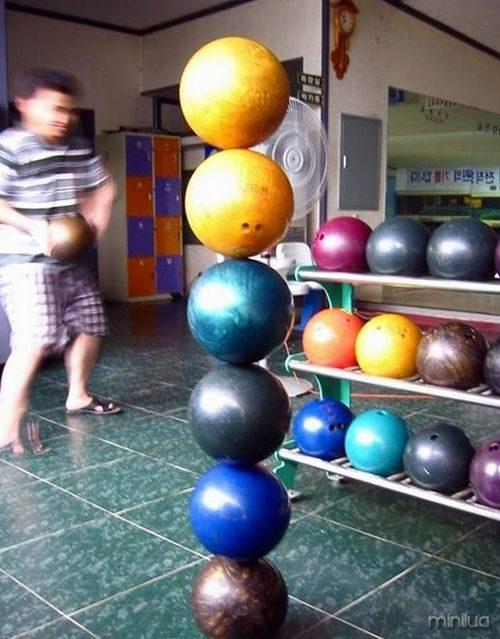 bolas de boliche de equilíbrio
