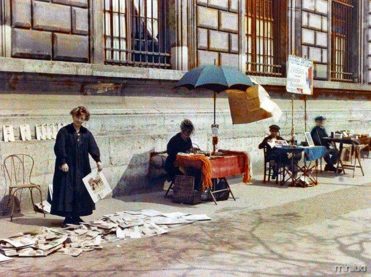 vendedores de rua em Paris há 100 anos