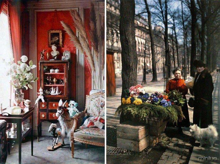 dividido em dois imagem que mostra uma sala e algumas mulheres nas ruas de Paris em 1914