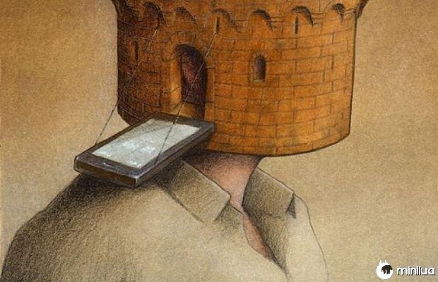 ilustração satírica e parede celular