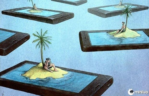 Ilustração de células satírico ilhas isoladas
