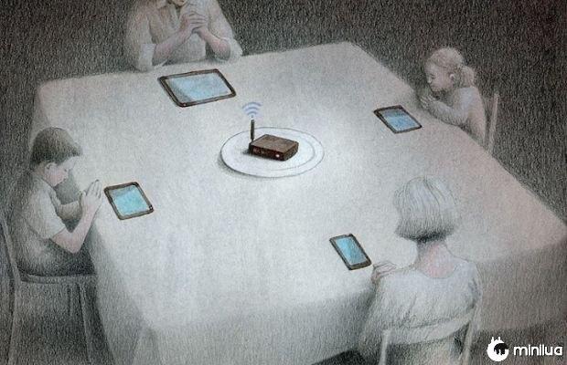 Satírico ilustração célula alimentos e wi-fi