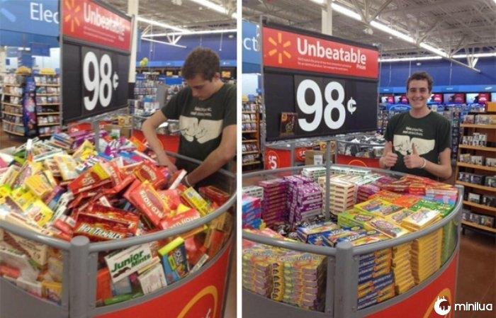Indivíduo em um caixas shopping ordenação