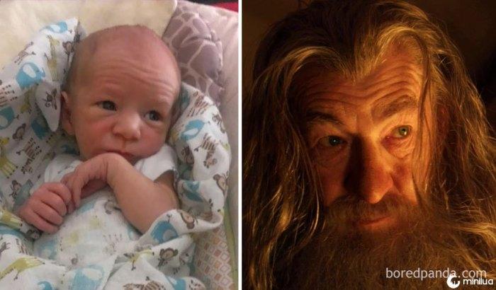 Assim o bebê do meu amigo olha como Gandalf