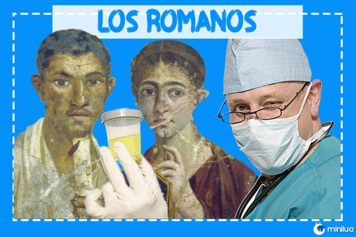 pintura romana de duas pessoas, antes de um médico com uma amostra de urina