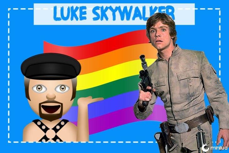 Luke Skywalker com emoji e bandeira gay