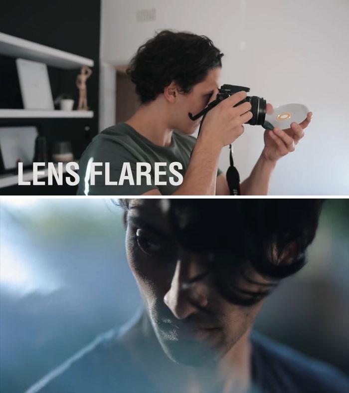 Use um CD para criar flamas de lente