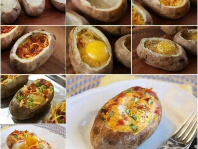 Batata assada recheada com queijo e vegetais ovo