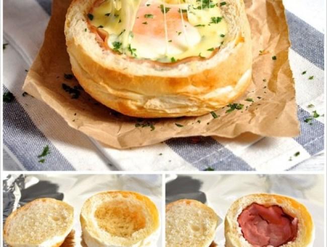 Sanduíche recheado ovo, bacon e queijo