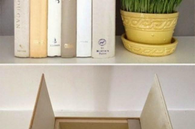 superfície de uma caixa decorada com livros em torno ao lado de uma planta