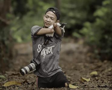 Homem nascido sem mãos e pernas se torna fotógrafo profissional, e suas fotos são incríveis
