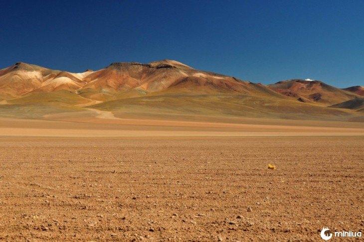 Fotografia de um deserto perto de algumas montanhas