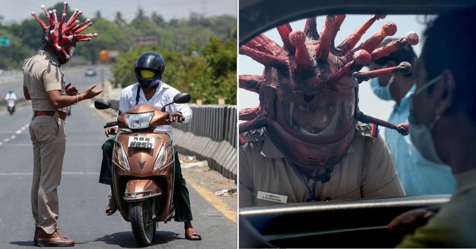Policial usa capacete de coronavírus para alertar as pessoas a ficarem em casa | Minilua