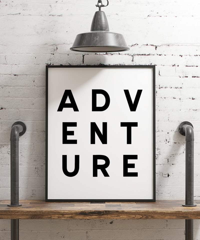 Adventure Minimalist Art Print, Typographic Art, Kids Room Decor, Travel Poster Print, Office, Dorm Decor, Nursery Art