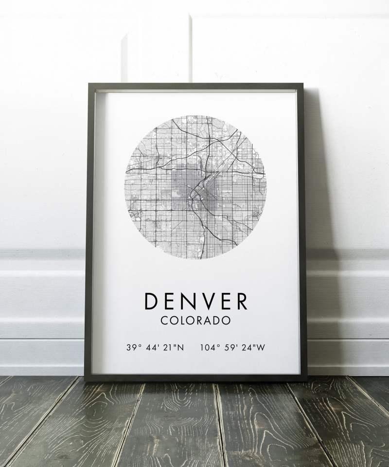 Denver Map, Denver City Map, Denver Map, Denver Print, Denver Poster, Map of Denver, Denver Colorado GPS, Minimalist Art Print