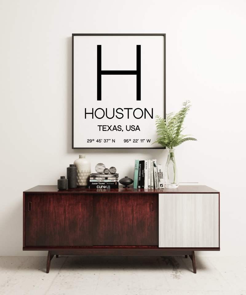 Houston Texas with GPS Coordinates Minimalist Art Print - Minimalist Wall Decor - Office Decor - Living Room Decor - Dorm Decor
