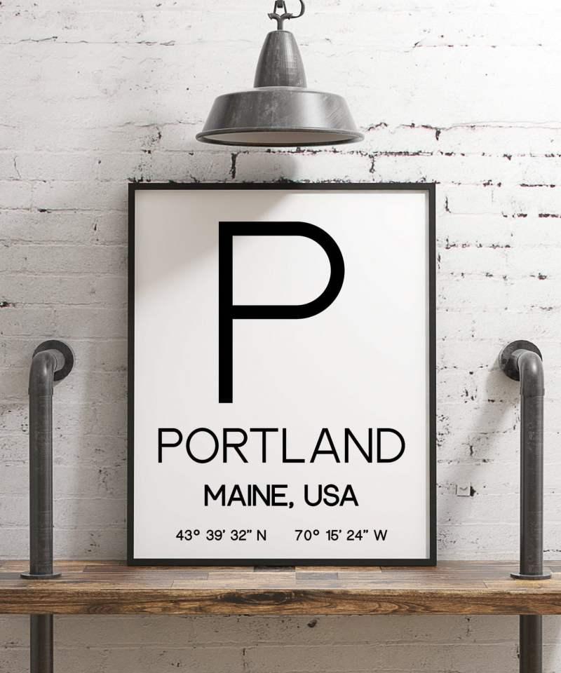 Portland Maine with GPS Coordinates Minimalist Art Print - Minimalist Wall Decor - Office Decor - Living Room Decor - Dorm Decor