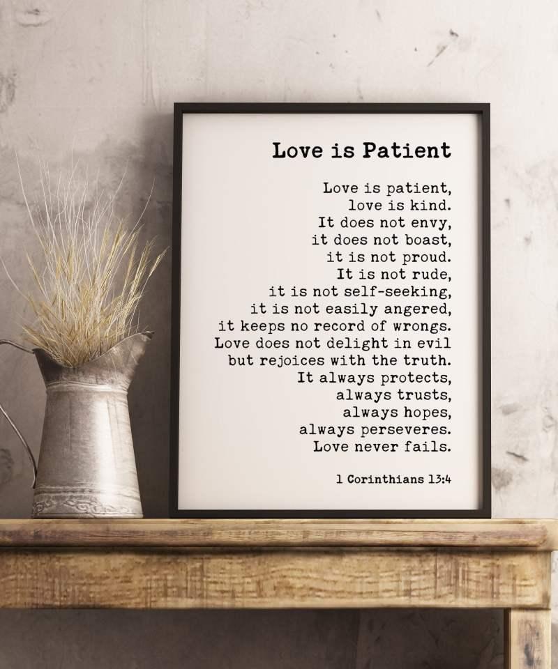 Love is Patient, Love is Kind. 1 Corinthians 13:4-8 Art Print / Religious Scripture, Wedding Gift Quote, Bible Verse
