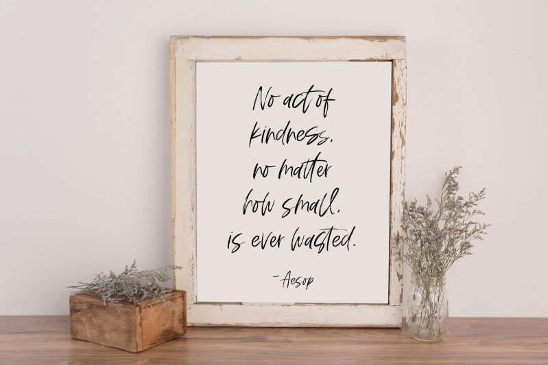 No act of kindness, no matter how small, is ever wasted. - Aesop   Nursery Art   Typography Print   Home Wall Decor   Minimalist Decor