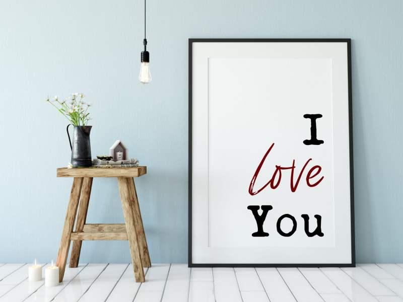 I Love You Typography Print | Home Wall Decor | Minimalist Decor | Couple Gift | Wedding Gift | Bedroom Wall Art
