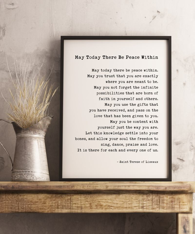 May today there be peace within. Saint Terese of Liseaux Typography Print | Home Wall Decor | Minimalist Decor | Inspirational Quote