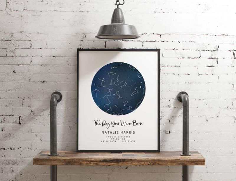 Personalized Custom Sky Constellation Chart Map // Anniversary Gift, Wedding Gift, Birthday Gift,  Newborn Gift, Engagement Gift, Stars