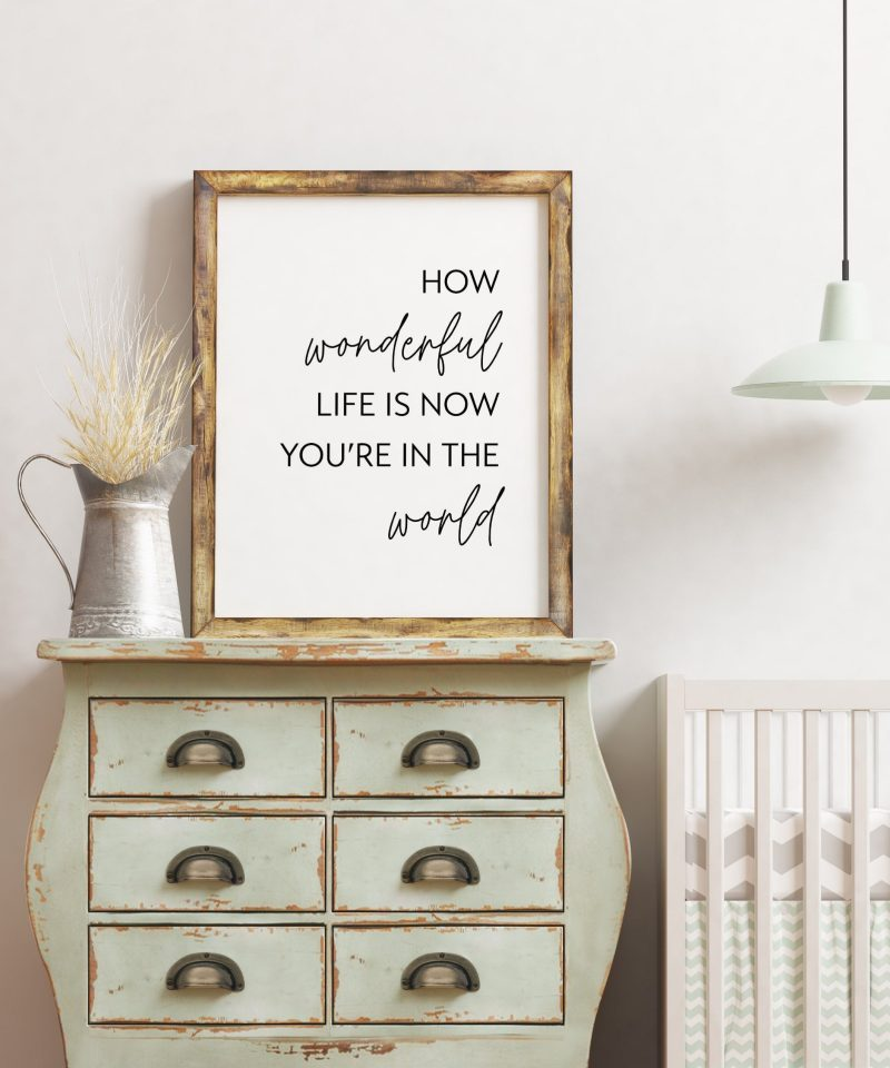 How Wonderful Life Is Now You're In The World, Nursery Wall Art, Wall Decor, Kids Room Art, Typography Print, Day Care Art, School Art