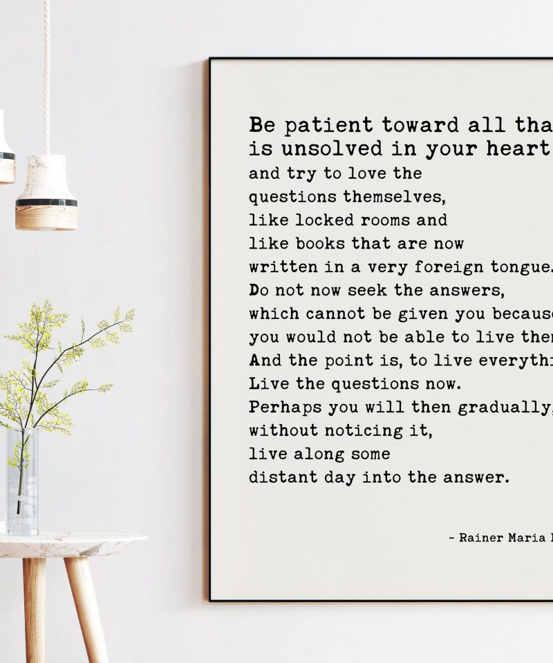 Rainer Maria Rilke Quote - Be patient toward all that is unsolved in your heart and try to love the questions themselves. Art Print