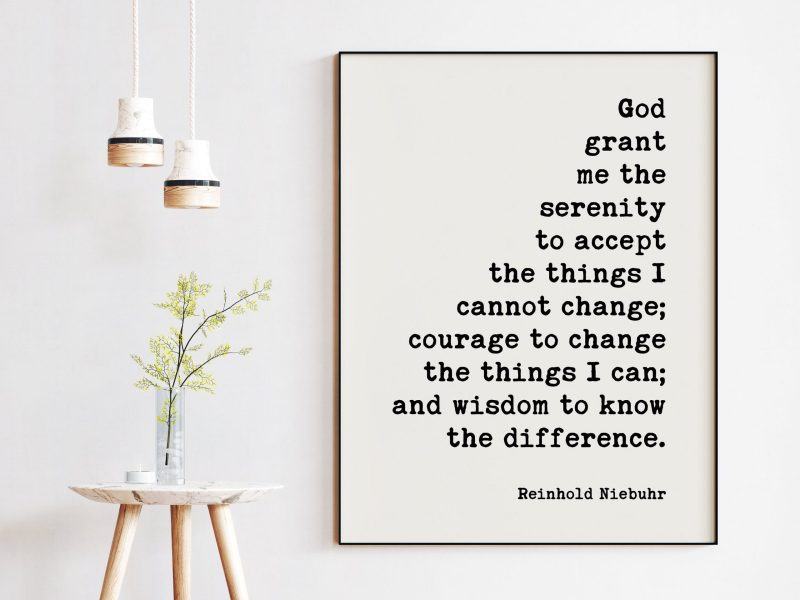 Serenity Prayer Art Print - Religious, Recovery Alcohol AA Gift, Addiction Gifts - Encouragement, Inspirational Gifts, God Grant Me Serenity