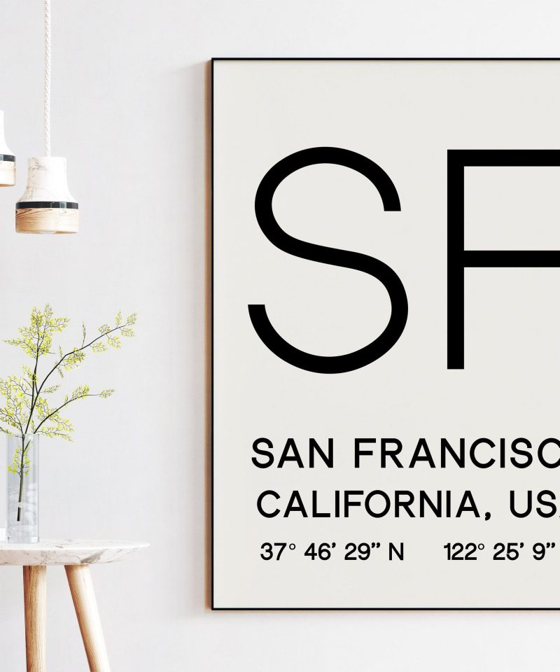 San Francisco with GPS Coordinates Minimalist Art Print | Wall Decor | Office Decor | Living Room Decor | Dorm Decor