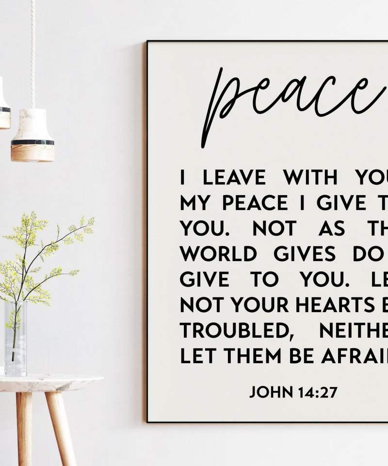 Peace I Leave With You - John 14:27 Art Print | Religious Wall Art | Scripture Art | Spiritual Art |  Bible Verse Art | Typography Art