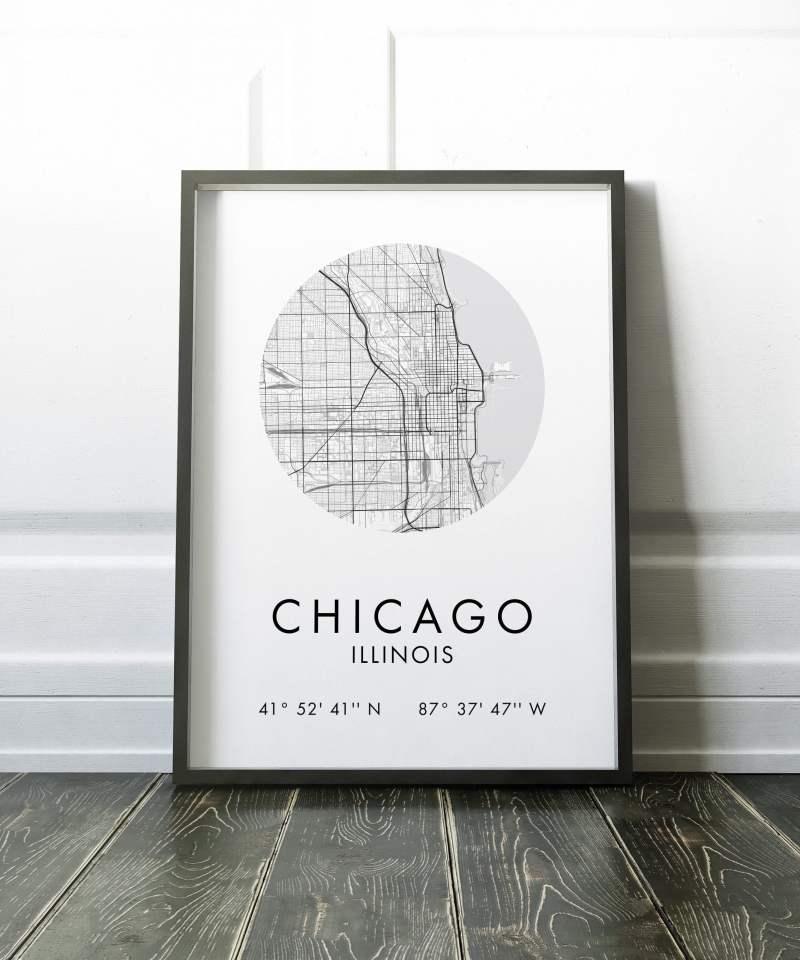 Chicago Map, Chicago City Map, Chicago Map, Chicago Print, Map of Chicago, Chicago GPS Art Print, City Map, Chicago IL, Chicago Maps
