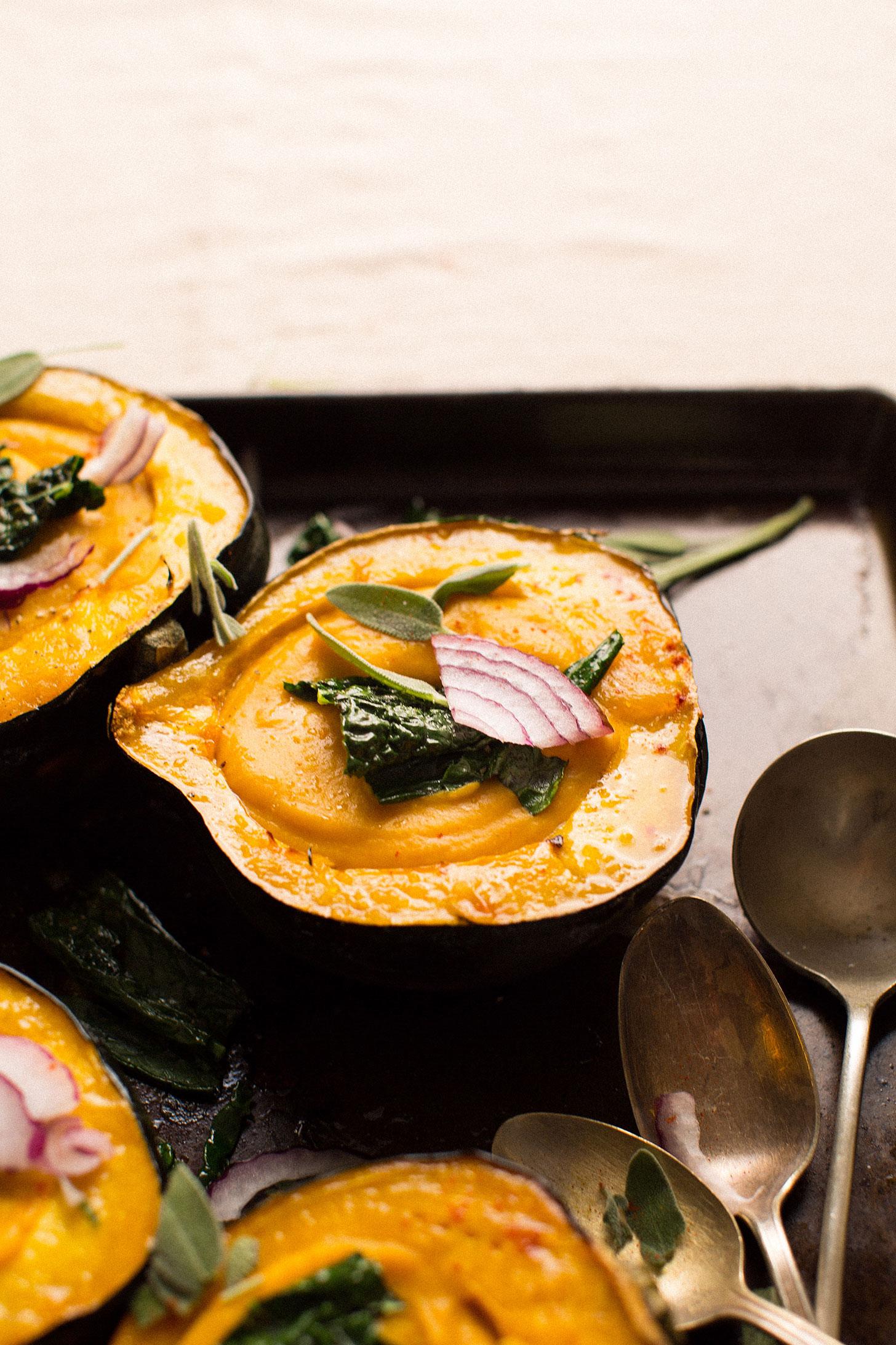 Creamy Fall Soup in Acorn Squash Bowls  Minimalist Baker