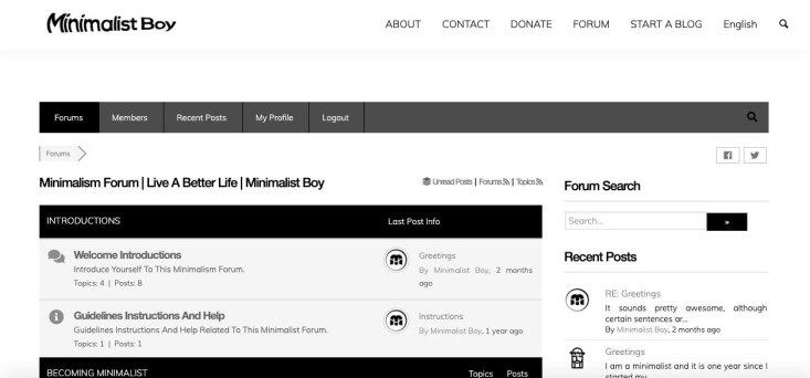 minimalistboy forum