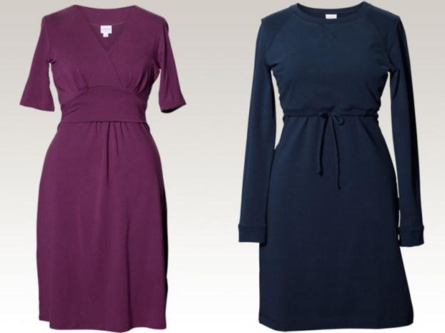 Två favoritklänningar från märket Boob. Kombinerade gravid- och amningsklänningar.