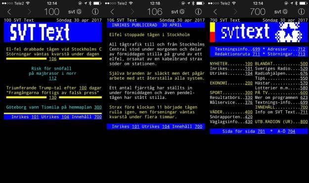 Tre skärmbilder från appen Text-TV II.