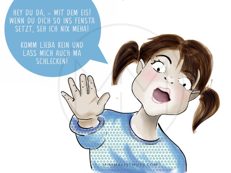 Hinweissschild: Bitte freihalten. Eine illustrierte Version für einen Kinderladen by Nic Pinguet vom minimalistmuss.com