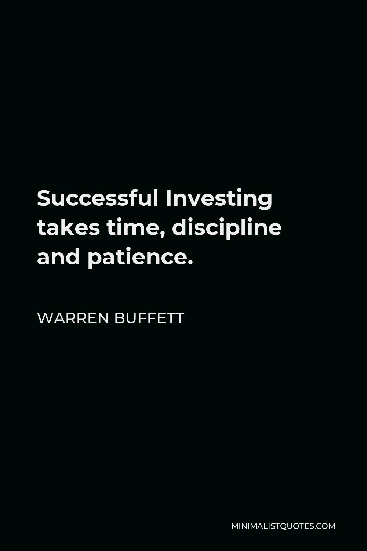 Warren Buffett Patience Quote : warren, buffett, patience, quote, Warren, Buffett, Quote:, Successful, Investing, Takes, Time,, Discipline, Patience.