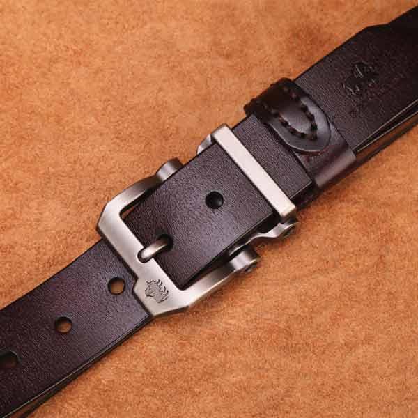 BISON DENIM Mens Leather Belt Genuine Leather Buckle Belt Cool Belt for Dress/&Jeans