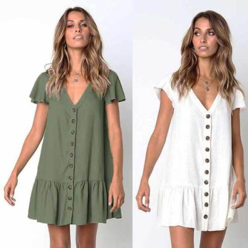 V-neck Cotton Linen Dress