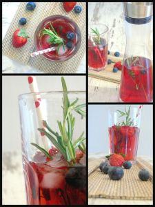 Bildcollage Eistee mit Beeren und Rosmarin im Glas und in der Servierflasche