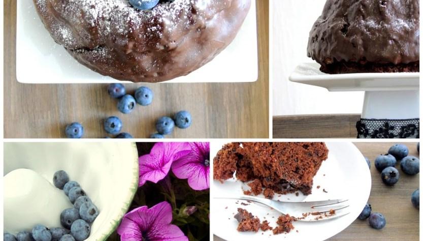 Collage mit verschiedenen Ansichten eines Schokoladen Gugelhupf mit Blaubeeren