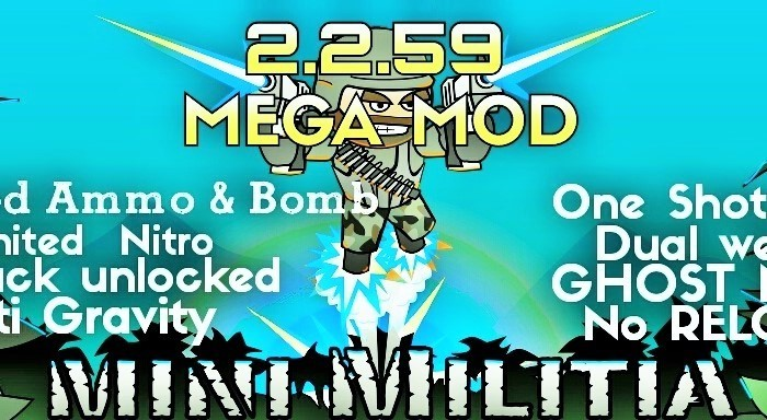 Mini Militia 4.0.36 Mega Mod Pro Pack One shot kill mod+ Unlimited Nitro