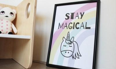 poster kinderkamer babykamer unicorn stay magical