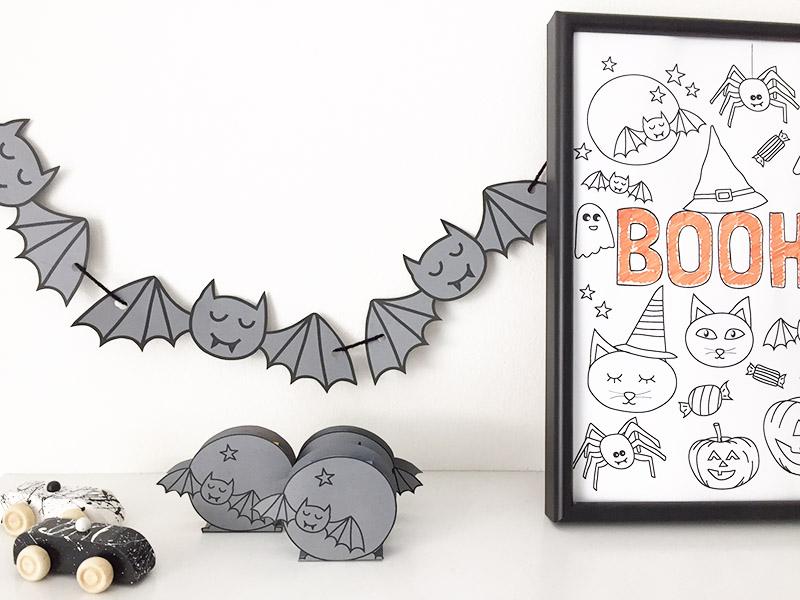 Kleurplaten Halloween Pompoen Vleermuis.Gratis Printable Vleermuizen Traktatie En Vlaggenlijn Halloween