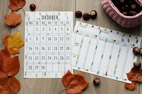 oktober maandplanner en weekplanner printable kind