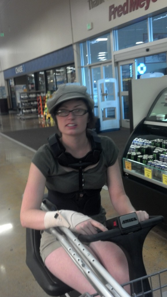 I know I look confused, I'm on a lot of drugs... here is a perk, I can guiltlessly ride the go-carts at the store!