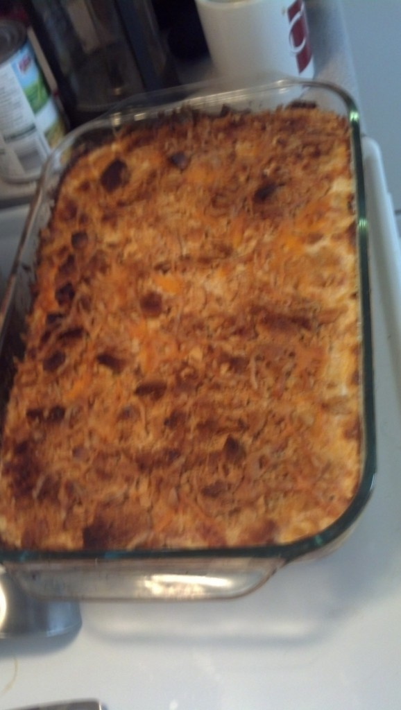 Then the potato casserole came out, green bean casserole went in