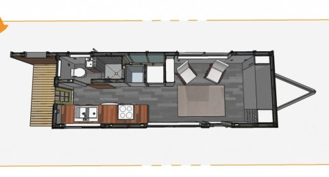 This is the plan, the only real difference is the murphy style bed at the hitch end, that piece of millwork changes to accommodate the bed.  The electrical closet also goes away leaving you with a living room about 2' bigger and slightly more interior storage.